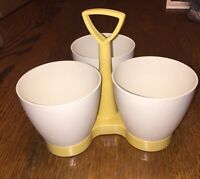 Tupperware Vintage Condiment Caddy Three Containers & Holder Almond Gold