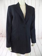 Halston Blazer Coat 8 Black Silk Cotton Lightweight Long Torso Pockets Authentic