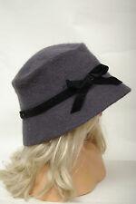 L068/56 Bluish Grey Wool/Angora Bucket Hat with Velvet Ribbon, 54cm, age 6-8