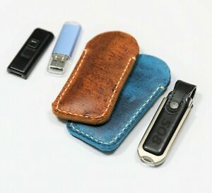 Leather flash drive holder Vintage soft leather USB flash drive case blue, brown