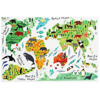 60*90cm Animal World Map PVC Wall Stickers DIY Children Bedroom Sticker Decor US
