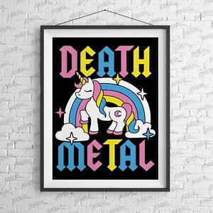 Death Metal Print - Alternative Suicide Girl tattoo Tattoo Unicorn rainbow