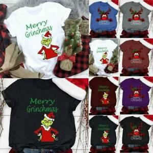 Womens Christmas T-Shirt Short Sleeve Xmas Crew Neck Tee Tops Casual Blouses AU