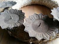 4 x Metall 9 cm Adventskranzstecker Rost Braun Kerzenhalter Kerzenteller Stecken