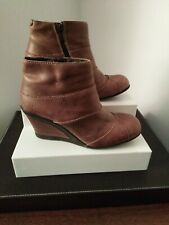 Fly London Wedge Heel Ankle Boots Brown Leather Sz 37 UK 4