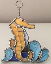 Stained Glass Seahorse Tea Light Candle Holder Coastal Beach Decor