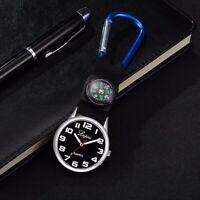 Compass Nurse Watch Brooch Outdoor Sport Carabiner Clip Hook Analog Quartz Watch