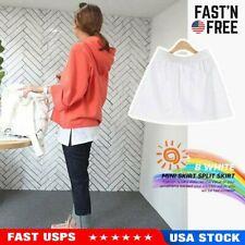 Women Adjustable Layering Fake Top Lower Sweep Set Skirt Half-Length Splitting W