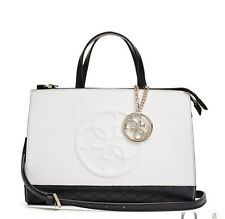 NWT GUESS Korry Status Satchel Handbag Purse Color Block White Black