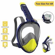 Mascara Buceo Snorkel 180° Panorámica Gafas Buceo de Cara (S/M)