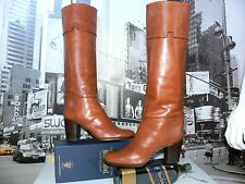Vintage Tanino Crisci Cognac Brown Tall Equestrian Leather Boots US 9.5 Gorgeous