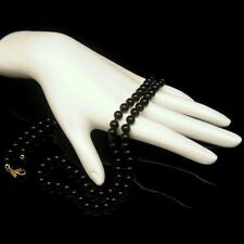 MONET Vintage Necklace Knotted Black Glass Beads High Quality 28 inches Long