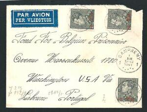 1941 WW2 Cover Dampremy Belgium to United States via Lisborne Portugal Overprint