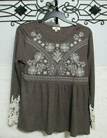 Entro Women's Stretch Knit Top Size L Long Sleeve Multicolored