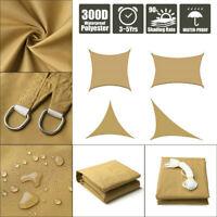 Sun Shade Sail Outdoor Patio Top Canopy Cover 98% Anti-UV Waterproof Khaki US