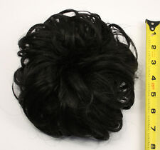 7'' Scrunchie Puff Elastic Natural Black Cosplay Wig Hair Bun Accessory NEW