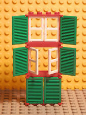 LEGO LEGOS - NEW Set of 4 Windows with moveable panes and shutters RED/GREEN