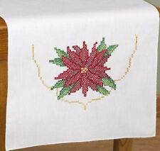 POINSETTIA HOLIDAY TABLE RUNNER Cross Stitch KIT ~ NEW