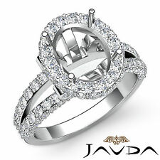 Halo Pave Diamond Engagement Classic Ring Platinum Oval Shape Semi Mount 1.4Ct