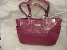 COACH Gallery Embossed Patent leather Tote BLOSSOM purple 19462 NWT+receipt!