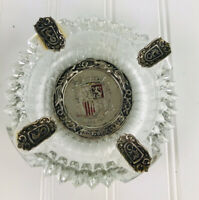 "Vintage Spain Glass Metal RDO DE ESPANA Crest Barware Ashtray 5.5"""