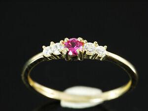 333 Gold  Ring mit Rubin Stein und Zirkonia  Größe 50  Ringbreite 3,2 mm