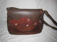 ViNtAgE 60's 70's Hand Tooled Braided LEATHER Handbag Purse Bag HiPPiE BoHo
