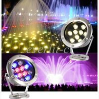 3/6/9/12W LED Underwater Pond Light Outdoor Garden Swimming Pool RGB Spot Lamp