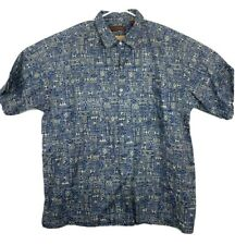 Mens Tori Richard Button Down Shirt Short Sleeve Aztec Patterned Blue Size XL