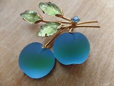 Vintage Austria  Double Frosted Glass Blue And Green Apple Fruit Brooch/Pin