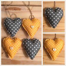 Set Of 4 Shabby Chic Hanging Love Hearts/ Paddedhanging Hearts Mustard / Grey