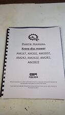 New Krone Am Parts Book Manual AM167 202 202z 242 242z 282 282z Disc mower