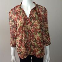 Coldwater Creek Blouse Size S Small Womens Button Up Shirt Floral 3/4 Sleeve