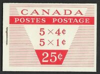 Canada BK53c: 1962 QEII CAMEO 1c and 4c (two panes of 5), TYPE III Booklet, VF