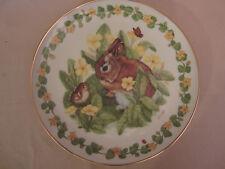 BUNNY RABBIT collector plate HEIDI LINDY Grooming WOODLAND BABIES Royal Cornwall