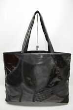 Braccialini Italian Leather Patchwork Top Zip Satchel Tote Purse ITALY