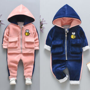 Baby Kid Toddler Boy Girl Cartoon Warm Hooded Tops+Pants Outfit Clothes Set Suit