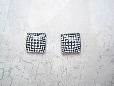 MAGNIFIED BLACK WHITE CHEQUER CHECK 12mm Square Domed Glass Stud Earrings