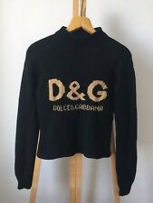 Vintage D&G Dolce Gabbana Black Knitted Wool Jumper Sweater Big Logo