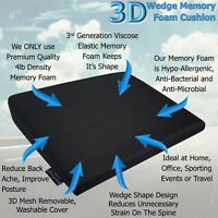 Memory Foam Wedge Car Seat/Chair Cushion Lower Base Posture Support Booster