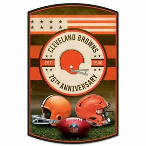 """CLEVELAND BROWNS 75TH ANNIVERSARY HARDBOARD WOOD SIGN 11""""X17"""" NFL LICENSED"""