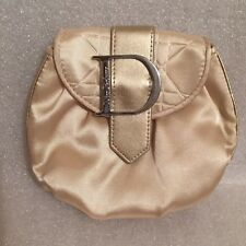 Dior Parfums Make-up Bag Clutch with Silver Logo Buckle Champagne Satin
