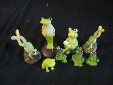 lot of 8 cute resin frog miniatures