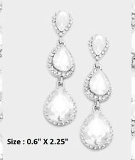 Crystal Rhinestone Wedding Statement Evening Earrings Triple Teardrop Long Drop
