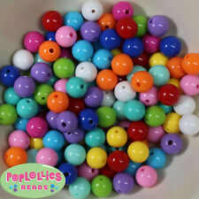 12mm Mixed Colors Acrylic Solid Bubblegum Beads Lot 120 pc.chunky gumball