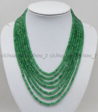 7 Rows Faceted 2x4mm Natural Green Aventurine Rondelle Beads Necklace 17-23''