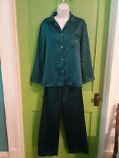 Miss Elaine 2 Piece Pajama Set Size Medium Dark Teal Flannel Lined