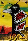 ACEO ORIGINAL Painting~CROW BUTTERFLY~FIGURATIVE~OUTSIDER~SMOODY