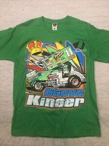 New VINTAGE Steve Kinser #11 Sprint Car Shirt Quaker State Indiana Racing 2-Side