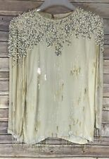 Vintage Beaded Blouse Tunic Top Long Sleeve Ivory Stunning Size: Small Glam
